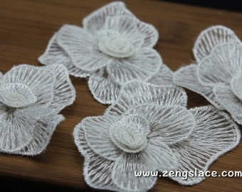White 3D floral  lace flower applique set/Lace Patch, two layers lace flower with 3D bud, 3*2 inch, priced for a set of four LA-29