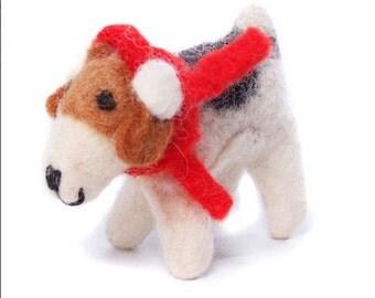 Felt Fox Terrier with ear-muffs