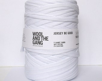 "Tshirt yarn ""White Noise""   100 m ( 109 yards ), recycled cotton yarn, zpagetti yarn, spaghetti yarn, trapillo"