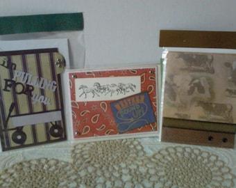 Handmade Greeting Cards - Western, Cows, Wagon