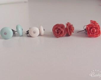 Roses and half pearl earrings with Rhinestones