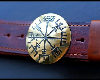 "Leather belt brass buckle ""Viking compass"""