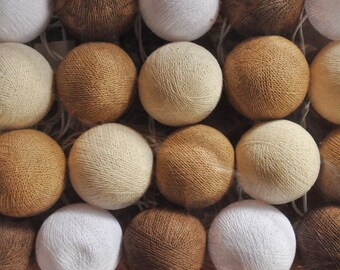 35 Brown Cotton Ball 13 Feet Fairy Lights String Wall Plug Party Patio Wedding Garland Hanging Gift Home Bedroom Decor Indoor Decorative