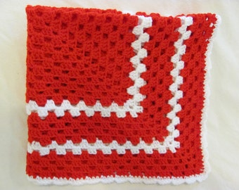 Red Granny Square Baby Blanket, Crochet Baby Granny Square Blanket, Red Baby Afghan, Shower Gift