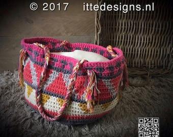 Crochet bag ' Native ' round, 22 cm high/33 cm diameter 100% cotton