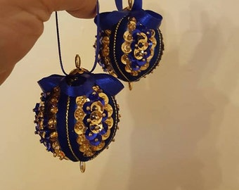 X2 Blue and Gold baubles