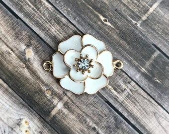 3D White Enamel Rose Pendant With Double Bail, Connector Charm, Gold Toned, Rhinestone, Elegant