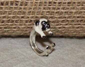ring Silver 925 enamel dog Pug