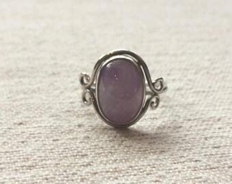 Lavender Amethyst Scroll Ring