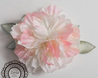 "8"" Peony Flower Heads with Leaves For Millinery, Wedding, Hair Accessories 