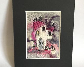 ACEO. Collectible. Wet felted. Hand stitched. Machine embroidery. Handmade. Imaginative gift.