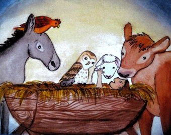 Christmas Card-Nativity Scene with Animals Gathered Round, Watercolour and Ink Printed Greeting Card