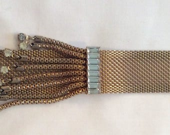 Gold mesh bracelet with dangling rhinestones vintage glamour RARE unique
