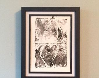 Nestled Hearts- Original Relief Print