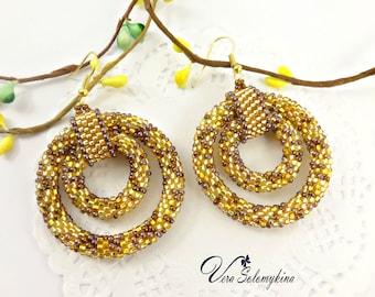 Beaded hoop earrings, Seed bead jewelry, Gold Boho Earrings, Native beadwork, African hoops, Ethnic Earrings, African earrings Gift for Here