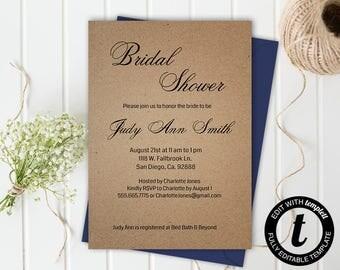Bridal shower invitation,bridal shower invitation template,wedding template,bridal shower,editable, kraft paper,5x7 template,you edit,DIY