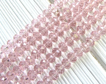 6mm Pink Crystal Glass Beads, faceted Rondelle,  pink beads, rose crystal beads, pink glass beads, 6mm glass beads, mala beads, baby pink