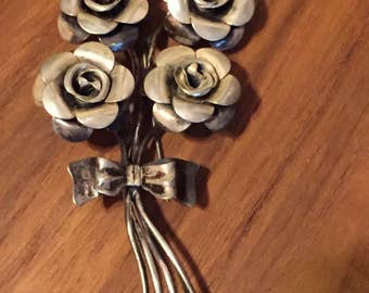 Vintage extra large Beau Sterling Silver 4 Roses Brooch pin