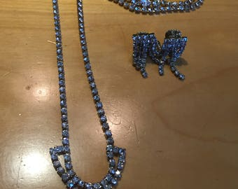 Vintage Clear Rhinestone Necklace, Bracelet and Earrings Set - Great Gatsby swing dancing Clearance Sale