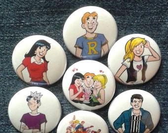 "Archie Comics button set 1"" pinback Jughead Riverdale Betty Veronica"