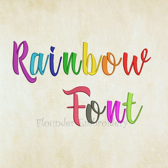 Rainbow embroidery font size designs fonts