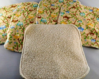 Cloth Wipes - Wash Cloths - Reusable Wipes -  Organic Cotton Sherpa -  Flannel -  Sensitive Skin -  Cleaning Cloths - CPSC Certified