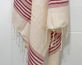 Beach towel, Peshtemal, Turkish towel, bath towel, pool- spa towel, swim towel, Turkish cotton towel, hammam towel, surf, ecru-red
