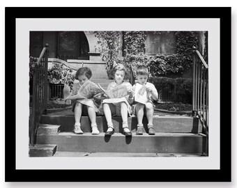 Photo of Children Reading Ambition Magazine, Friendship, Children's Room, Black and White Photo Print, Wall Art, War, Historical, Friends,