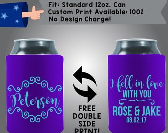 Last Name I Fell in Love with You Names Date Collapsible Fabric Wedding Cooler Double Side Print (W153)
