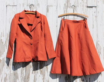 Handmade Vintage Dark Orange Skirt and Jacket Set, with Pockets, Skirt Suit, Size Small, 1970s, A Line Skirt, black buttons