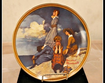 1982 Norman Rockwell Waiting on the Shore Rediscovered Women Plate, Knowles Plate Collection, Limited Edition, Waiting On The Shore Plate
