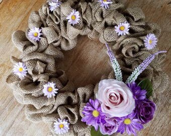 Burlap Wreath with Purple Spring Flowers