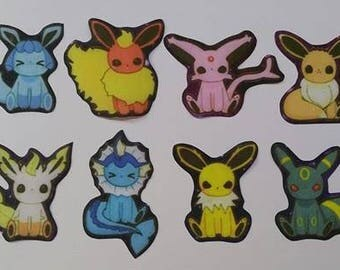 Set of iron on fabric Pokemon patches/motifs/embellishments