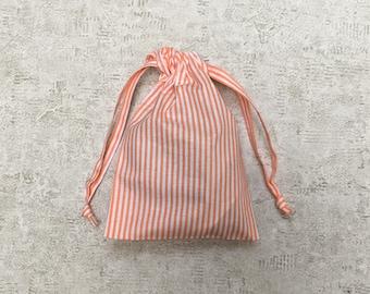 unique smallbag in sheet Orange and white - striped cotton bag