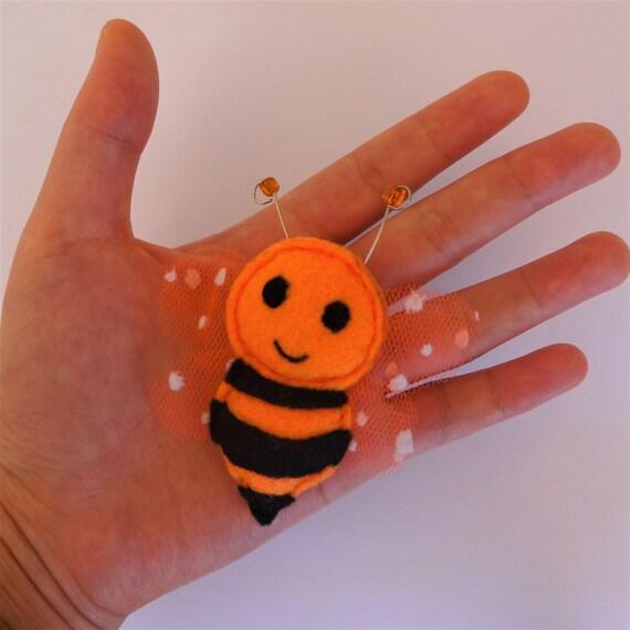 Orange Sherbet Honeybee Brooch