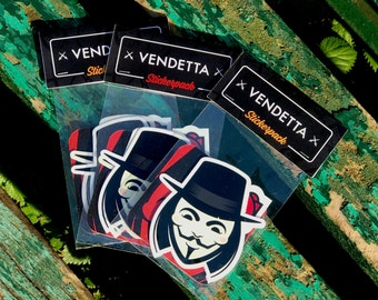 VENDETTA Stickers Pack, Vendetta Stickers, Cool Stickers, Laptop stickers, cool laptop stickers, iPhone stickers, V for Vendetta decal vinyl