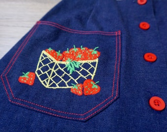 1960s Thermo-Jac Jean Skirt with Strawberry Embroidery- Size 10-12