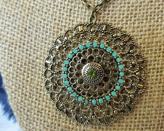 The Jasmine necklace - extra long gold / bronze medallion pendant, mandala
