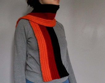 Black red and orange ribbed crochet scarf