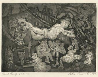 "PETER ZACCARIA PASSUNTINO (American, b. 1936), ""Trapeze"", 1974, original etching, pencil signed."