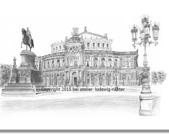 Semperoper Dresden - original signed art print