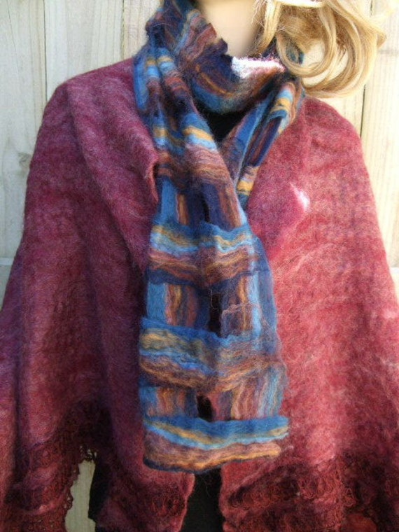 Blue Autumn Tones Lattice Felted Scarf