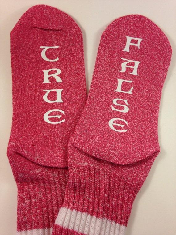 Women's pink crew socks true...false