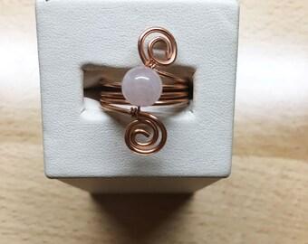 Rose Quartz Copper Spiral Ring