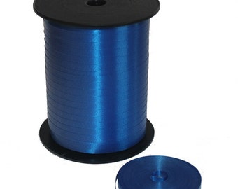 5mm Curling Ribbon Satin Royal Blue Cream For Balloon Decoration Or Packing Gifts - Choose Letgth