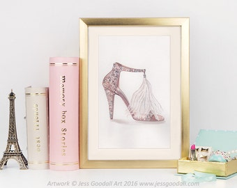 Jimmy Choo Watercolour Fashion Illustration Print