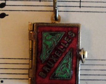 Antique Enameled Brussels Belgium souvenir book pendant c1910