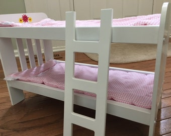 "18"" Doll Hand-Painted Bunk Bed with Bedding & Optional Trundle, Gerber Daisy"