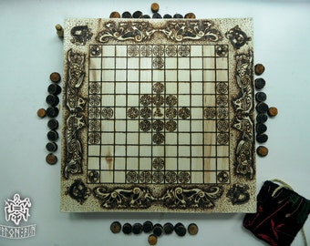 Board game / the Vikings /  Hnefatafl / Scandinavian Board game / Pyrography / Woodburning /Pyrography art
