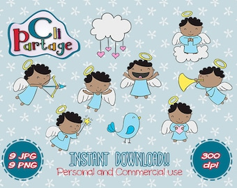 Black Hair Angels Cliparts, Instant Download, Clip Art Vectors, Clip Art